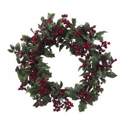 Nearly Natural - 24 Inch Holly Berry Wreath - What would the holiday season be without Holly? We asked ourselves that very question and our answer was this stunningly beautiful Holly Berry Wreath. With the twig wreath and dark, spiny greens providing the backdrop, the shiny, deep-red berries perfectly embody the holiday spirit, and welcome winter s cold embrace. A timeless classic, recreated just for you.