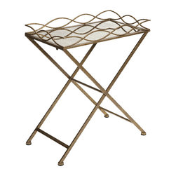 Imax - Josephine Metal Antique Vintage Gold Tray Table Iron Mirror Decor - Josephine metal antique vintage gold tray table iron mirror living, dining and family room home accent decor
