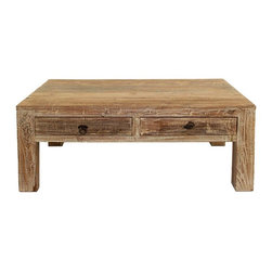 """Hampton Teak Coffee Table 48"""" - From humble beginnings come fantastic ends. Our Hampton 2 Drawer Coffee Table is made from 100 year-old wood planks that has been reclaimed from old buildings with a Lime wash finish. This collection seamlessly combines the warmth and character of beautifully aged woods to the refreshing lines of current style. A protective finish of a dull water based lacquer retains the natural beauty of the aged wood. While the rustic style of each cocktail table remains the same, the old wood gives every reclaimed wood table its own unique characteristics."""