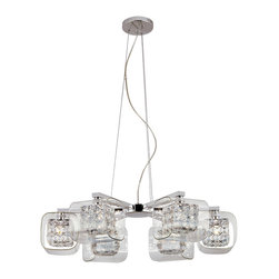 Trans Globe Lighting - Trans Globe Glassed Cube 6 Light Pendant In Polished Chrome Mdn-1114 - Trans Globe Glassed Cube 6 Light Pendant in Polished Chrome MDN-1114