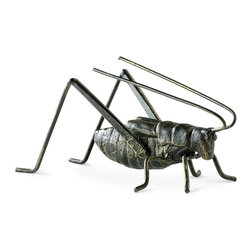 Cricket Sculpture - A classic luck symbol constructed in distressed metal with hints of gold perches on a side table or in a centerpiece, adding an eclectic old-world pleasure to your decor with its hint of whimsy and detailed craftsmanship. The Cricket Sculpture is ideal for patio container gardens and for adding interest and fun to hutches or bookshelves in your home.