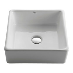Kraus - Kraus White Square Ceramic Sink - *Add an elegant touch to your bathroom with a Kraus ceramic washbasin