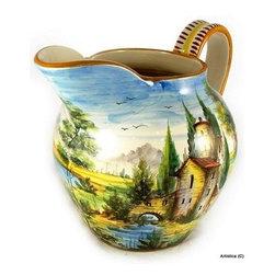 Artistica - Hand Made in Italy - Paesaggio: Large ''Vasella'' Pitcher - Paesaggio Collection.