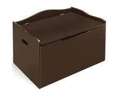 Badger Basket - Espresso Bench Top Toy Chest - Bench top design is great for kids as a reading bench or a place to perch when dressing or putting on shoes. Measures 30.25 in. L x 18 in. D x 19 in. H. Safety support hinge. Bench holds up to 100 pounds. Made with engineered wood. Non-toxic finish.