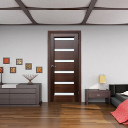 "Tokyo Wenge Modern Interior Door With Frosted Glass - Contemporary ""Tokyo"" style interior door. Constructed from the finest wood. The core is solid, finished with wenger veneer. Combination of dark espresso wenge with frosted glass make it look irresistable. Available in 2 colors."