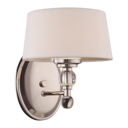 Savoy House - Savoy House 8-1041-1-109 Murren 1 Light Sconce - A Transitional look, combining the best of Traditional and Contemporary styles, with a cleaner, less ornamented design. The Polished Nickel finish works well with the hardback white fabric shades. This versatile family includes a rod hung three-light trestle and an assortment of incredibly unique pendants and bath bars.