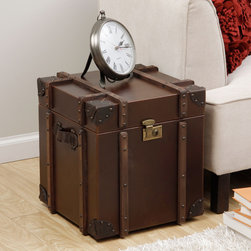 None - Journey Vintage Tobacco Leather Trunk Side Table - Enhance your home,living or bed decor with the uniquely styled Journey trunk side table. With a soft,durable cover and spacious interior,this timeless table is perfect for hiding storage and adding a touch of rustic style to any room.