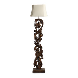 Vintage Wooden Carved Handmade Floor Lamp With Square Bell Shade - The vintage style floor lamp was in solid wood carved into flower as body, heavy square wooden base and stainless steel as core to hold shade. The dark bronze painting finish will makes your home in old-fashion and stylish.
