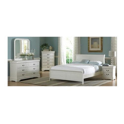 Homelegance - 5-Piece Contemporary Bedroom Set in White (Full) - Choose Bed Size: Full