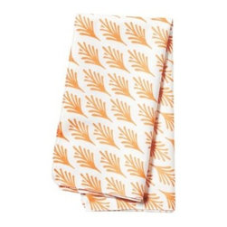 Serena & Lily - Captiva Napkins Persimmon (Set of 4) - Taken from one of Serena's watercolors, each leafy frond is just slightly different from the next and printed on the diagonal for a subtle sense of movement. The bold pattern is striking against an ivory ground.