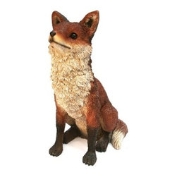 Michael Carr Frankie the Fox Resin Statue - Adorn your garden with the attentive and adorable Michael Carr Frankie the Fox Resin Statue. Part of the Garden Critters collection from Michael Carr Designs, this cute and lifelike creature adds personality and charm to any yard or garden. This handsome critter is hand-made from durable high-quality polyresin material and then hand-painted for quality. The durable polyresin has a U.V. coating that resists cracking or chipping from the sun.About Michael Carr DesignsDesigning an exclusive line of high-end garden pottery, fountains, statuaries, and bird baths, Michael Carr Designs brings something new and innovative to your outdoor living space. There's something for everyone with their fashionable colors, soft raining finishes, and multiple styles. Each piece is hand-made beginning with a craftsman molding the clay and ending with a rustic Old World kiln. This means each piece is unique, a true one-of-a-kind. Michael Carr Designs works in a variety of materials like Vietnamese glazed pottery, Malaysian pottery, Italian terracotta pottery, and resin just to name a few.