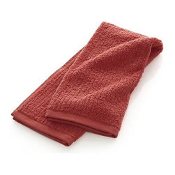 Ribbed Coral Hand Towel - Broad borders of vertical ribbing with flat banded edges finish our spa-style coral towels in absorbent 500-gram cotton.