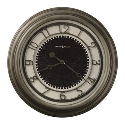 """HOWARD MILLER - Howard Miller Kennesaw 25-1/2"""" Gallery Wall Clock - The aged ivory dial features an aged black center with raised Arabic numerals finished in antique nickel"""