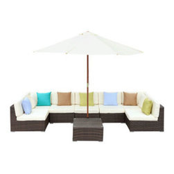 """LexMod - Monterey Outdoor Patio Sectional Sofa Set in Chocolate White - Monterey Outdoor Patio Sectional Sofa Set in Chocolate White - Your corner of the world just got bigger. The Surroundings Sectional Sofa Set, takes the great outdoors, and carves out a fashionable nook to call your own. With soft all-weather fabric cushions and a synthetic rattan base, Surroundings takes the most comfortable components of your indoor furniture, and transitions them outside under the sky and open air. The set also comes equipped with a full-size wooden sun shade umbrella. Set Includes: Five - Monterey Outdoor Wicker Rattan Armless Sofas One - Monterey Outdoor Wicker Rattan Coffee Table One - Monterey Outdoor Wicker Rattan Umbrella Two - Monterey Outdoor Wicker Rattan Corner Sofas Synthetic Rattan Weave, Powder Coated Aluminum Frame, Water & UV Resistant Machine Washable Cushion Covers, Wooden umbrella sun shade, Easy To Clean Tempered Glass Top Overall Product Dimensions: 147""""L x 117""""W x 26""""H Corner Section Dimensions: 33""""L x 33""""W x 25""""H Armless Sofa Dimensions: 33""""L x 27""""W x 25.5""""H Tea Table Dimensions: 27.5""""L x 27.5""""W x 13.5""""H Umbrella Stand Dimensions: 17.5""""L x 17.5""""W x 11.5""""H Umbrella Diameter: 117""""L x 117""""W Seat Dimensions: 15.5""""H Cushion Thickness: 4""""H - Mid Century Modern Furniture."""