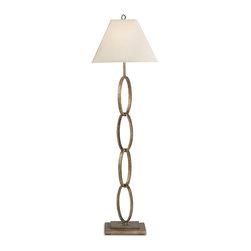 Currey & Co - Currey & Co 8024 Bangle Silver Leaf Floor Lamp - 1 Bulb, Bulb Type: 150 Watt Edison; Weight: 20lbs