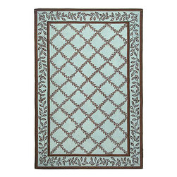 Safavieh - Hand-hooked Trellis Turquoise Blue/ Brown Wool Rug (6' x 9') - Hand-hooked Trellis rug has a transitional design Floor rug is made from a pure virgin wool pile Area rug features a blue background
