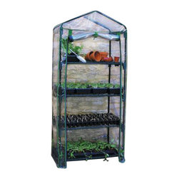 Gardman USA - Cover 4 Tier Mini Greenhouse - REPLACEMENT COVER FOR 4 TIER MINI GREENHOUSE.  Ideal for limited spaces.  Shelving included.  Includes wall fixing rings and guy ropes.