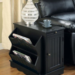 Coaster - Accent Mission Cabinet Table - Craftsman style. One cabinet drawer. One door. Two magazine rack holders. Panel ridge detailing. Carved apron and edges. Made from wood and veneers. Black finish. Made in USA. 17 in. W x 23.25 in. D x 22.5 in. H. WarrantyPlace this cabinet table in your living room for the ultimate storage device. With such a functional design, you will easily be able to store magazines, books, remotes and even hold a reading lamp. It will surely make a quaint little end table in your living room or den.