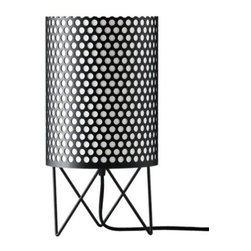 """BestLite - BestLite PD-4 ABC table lamp - Product Details:    The PD-4 ABC Table Lamp from the Pedrara Collection from Bestlight. This is available in a floor model and a suspension model with several color choices including matt white, matt black, matt blue and matt red in different cylindrical perforated metal patterns.  Product Details:    The PD-4 ABC Table Lamp from the Pedrara Collection from Bestlight. This is available in a floor model and a suspension model with several color choices including matt white, matt black, matt blue and matt red in different cylindrical perforated metal patterns.  Details:                         Manufacturer:                        BestLight - The Pedrera Collection                                                 Designer:                        Barbar Corsini and Joaquim Ruiz Millet                                         Made in:                        Denmark                                         Dimensions:                        Height: 13.9"""" (35.5cm) X Width: 7.2"""" (18.5cm)                                                     Light bulb:                                     1 X 60W Medium Base Incandescent                                         Material:                        metal                         Bestlite has been in continuous production since the 1930's with Winston Churchill amongst its many famous users.  The Bestlite design was conceived by Robert Dudley Best who was highly infuenced by the Bauhaus movement. Bauhaus, is the German school that merged practical crafts with fine arts, which had profound infuence upon subsequent developments in art, architecture, graphic design, interior design and industrial design. The Bauhaus style became one of the most influential forces behind Modernist architecture and modern design.   Eighty years on, the Bestlite design stays close to its industrial roots and true to its original design. Bestlite is held in permanent collections at both the Victoria & Albert Museum and """