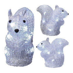 "3D Acrylic Squirrel Motif - This guy has a friend you might want to consider purchasing together. Take a look at his friend with the nut and add both of them to your Christmas drcor this year. Additional Information: 6.3"" length, 5.9"" width, and 6.7"" tall. Meant for use outside. Listing is for one squirrel."