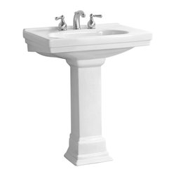 Pegasus - Structure Pedestal Lavatory Sink in White - F - Manufacturer SKU: FL-1950-SWH. Faucet not included. Stylish art deco design. Integral faucet deck. Single hole faucet drilling. Rear overflow. Made from high quality vitreous china. Depth: 9.5 in.. Overall: 28.25 in. W x 20 in. D x 34 in. H (89 lbs.)