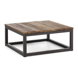 ZUO ERA - Civic Center Square Coffee Table Distressed Natural - A coffee table always takes center stage. Make yours the industrial Civic Center  that features a top made of sturdy elm planks and a base constructed of antiqued metal. It's the ideal piece to add a rustic feel to your living room.