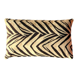 Pillow Decor - Pillow Decor - Samba Gold 12 x 20 Throw Pillow - The Samba Gold 12 x 20 Throw pillow features a soft chenille in gold woven into a dark brown background fabric. This contemporary design combines the visual appeal of a classic zigzag pattern with the suggestion of tiger stripes.