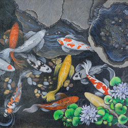 KOI II - KOI II is offered as a limited edition reproduction on canvas. Pigmented inks preserve the color and quality of this fine print. Gallery wrapped it is ready to hang or may be framed.