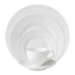 Wedgwood - Wedgwood White 5 Piece Place Setting - Capturing the very essence of traditional English style, the Wedgwood White Collection is characterized by simple, elegant design details that have stood the test of time; remaining as contemporary now as they were when first introduced in 1920. This 5-Piece Place Setting includes everything needed for one guest's full dinner service; three beautiful fine china plates and a-cup with saucer; all rendered in crisp, clean whiteware and guaranteed microwave, dishwasher and oven-safe.
