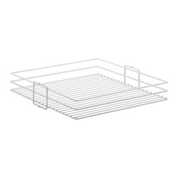 """Knape & Vogt Mfg. Co. - Center Mount Pantry Basket - White - 5W - Center mount pantry basket in white. All wire center mount pantry baskets available in white to coordinate with center mount pantry roll-outs. Each basket measures 20 7/16""""L x 4 1/8""""H and comes in a variety of widths.5"""" 8"""" 11"""" 14"""" 17"""" and 20"""" widths."""