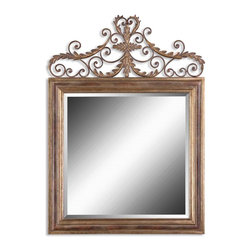 "Grace Feyock - Grace Feyock Valonia Traditional Square Mirror X-B 13621 - This Decorative Mirror Features A Finish In Heavily Antiqued Gold Leaf And Distressed Chestnut Brown With Black Speckling. Mirror Has A Generous 1 1/4"" Bevel."