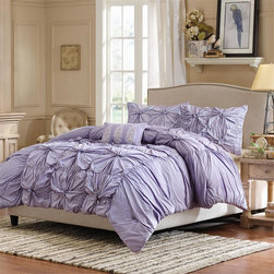 Madison Park - Madison Park Harlow 4 Piece Duvet Cover Set - Add a bold pop of color to your bedroom with the Harlow duvet cover set. Harlow is a fun purple duvet cover pieced together with ruching and embroidered details. The center of the duvet cover features a pieced look and the sides are ruched to create a variety of texture and dimension. The duvet cover set includes two king shams and three embroidered decorative pillows in purple and white that adds color and detail to this collection. Duvet: 100% cotton percale 180TC with cotton reverse Sham: 100% cotton percale 180TC with microfiber reverse Pillow: 100% polyester shell, polyester filling