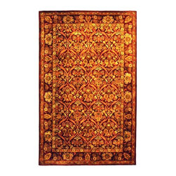 Safavieh - Wool Rug in Wine & Gold Floral (3 ft. x 5 ft.) - Size: 3 ft. x 5 ft.. Set the stage for your traditional decor. This expertly arranged area rug has an herbal washed, hand tufted wool texture for unmatched coziness and character. Wine and gold-tone floral patterns bring out the very best in whatever room you wish. Hand Tufted. Made of Wool. Made in India. Pictured in Rectangle.