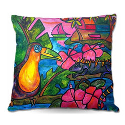 DiaNoche Designs - Pillow Woven Poplin from DiaNoche Designs - Iguana Eco Tour - Toss this decorative pillow on any bed, sofa or chair, and add personality to your chic and stylish decor. Lay your head against your new art and relax! Made of woven Poly-Poplin.  Includes a cushy supportive pillow insert, zipped inside. Dye Sublimation printing adheres the ink to the material for long life and durability. Double Sided Print, Machine Washable, Product may vary slightly from image.