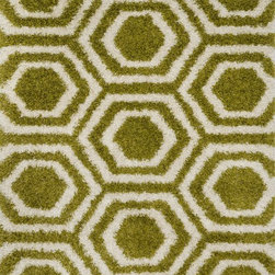"""Loloi - Loloi Barcelona Shag BS-09 (Green) 5'2"""" x 7'7"""" Rug - The new Barcelona Shag Collection offers a machine-made version of the hot category. The contemporary line is made in Egypt of polypropylene and viscose for just a touch of shimmer. Four designs in all include two solid styles, a playful Rainbow design and dramatic Fire pattern"""