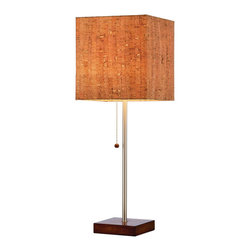 Sonoma Table Lamp - Add a touch of understated elegance to your clean-lined, modern weekend cabin or home with the Sonoma Floor Lamp. With its square walnut base, slim silhouette and square, natural cork shade, the lamp can set your interior space aglow.
