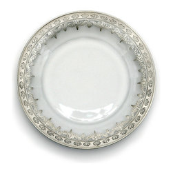 Vetro Silver Salad/Dessert Plate - A luxurious centerpiece to any place setting which adds scrolls of silver and a touch of Florentine romance to the presence of your tableware, the Vetro Silver Salad or Dessert Plate is made from clear glass, perfect for allowing its lacy silver designs to layer onto colored or patterned dinner plates. This exquisite piece is hand-painted with silver leaf to achieve its breathtaking elegance.