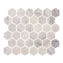 "Tile Circle - Carrara Marble 2"" Hexagon Polished Tile, 12x12 - Perfect for kitchen backsplashes or bathroom floor and wall tile installations."