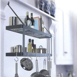 Double Bookshelf Wall Mount Pot Rack - This pot rack has a huge storage capacity! It is almost 3 Feet Wide! Step aside cabinets... we've discovered a new way to create great storage in the kitchen! Mount the Double Bookshelf Pot Rack on the wall and use space you never knew you had. This pot rack has a grid on each shelf for maximum hanging possibilities and a 10 inch space between the two shelves providing plenty of room for small accessories. This rack comes in several color combinations with one finish for the rack and another for the hooks and grid. For example if you choose White with Brass you will receive a white pot rack with brass hooks and grid. The stainless steel with chrome option is crafted from the best quality available 18/10 stainless steel (will not rust) milled in the USA. All other options are crafted from powder coated steel. This pot rack comes complete with six eye hooks two grid hooks two grids and complete hanging instructions. Hammered Steel with Chrome Features is shown above.
