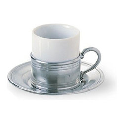 "Match Pewter - Espresso Cup & Saucer by Match Pewter - Using methods that predate the Renaissance, Match artisans fashion pewter into functional objects of warmth and beauty. Serve your coffee in style with this charming collection from Match pewter.                        2.2"" diameter x 2.4"" high"