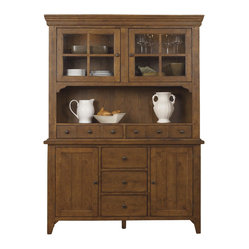Liberty Furniture Hearthstone Buffet w/ Hutch in Oak, Medium Wood