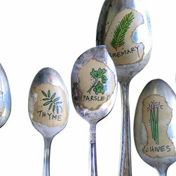 Illustrated Herb Plant Spoon Makers - A one-of-a-kind way to mark your herbs. A set of five hand-illustrated herbs--chives, rosemary, sage, thyme, and basil--displayed on old silverplate spoons. Each drawing is done by hand in archival ink and colored by hand. These are mini works of art.