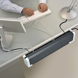 Home Office Electrical Supplies - The Plugmold Power Center is a space-saving 6 power/4 USB outlet with surge protection and a cable-hiding trough. 2.0 Amp USB output is compatible with tablets, smart phones and other devices. It can be mounted behind or beneath desk and leaves workspaces uncluttered.