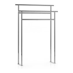 WS Bath Collections - Rampin Freestanding Towel Rack - Ranpin 5128 Floor Stand in White by WS Bath Collections In Chrome Plated Brass, Made in Italy