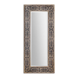 Uttermost - Abelardo Wood Frame Mirror - Lightly Stained, Rustic Solid Wood With Aged Black Details.