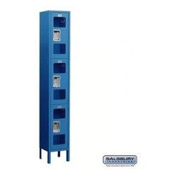 Salsbury Industries - See-Through Metal Locker - Triple Tier - 1 Wide - 6 Feet High - 15 Inches Deep - See-Through Metal Locker - Triple Tier - 1 Wide - 6 Feet High - 15 Inches Deep - Blue - Unassembled