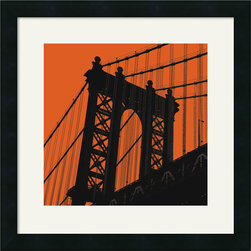Amanti Art - Orange Manhattan Framed Print by Erin Clark - Anyone with a soft spot for the Big Apple will be smitten with this sophisticated representation of the Manhattan Bridge. Bring a bit of urban flair to your office or den with Erin Clark's awe inspiring contemporary style.