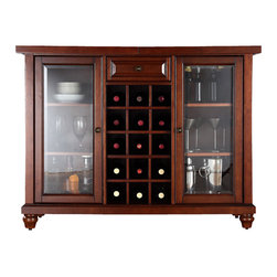 Crosley Furniture - Wooden Bar Cabinet - Sliding expandable top. Beveled or tempered glass doors. Raised front panel drawer. Adjustable shelves and plentiful storage space for spirits, appliances and other items. Center storage area is great for up to fifteen bottles of wine. Can be remove wine storage cubes to reveal an adjustable shelf. Antique brass hardware. Doubles as a serving station when entertaining. Adjustable levelers in legs. ISTA 3A certified. Warranty: 90 days. Made from solid hardwood and veneer. Vintage mahogany finish. Assembly required. Min: 47.75 in. W x 20 in. D x 36 in. H (220 lbs.). Max: 64 in. W x 20 in. D x 36 in. H (220 lbs.)Elegantly entertain guests with this sliding top bar cabinet Style, function and quality make this sliding top bar cabinet a wise addition to your home.