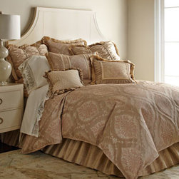 """Isabella Collection by Kathy Fielder - Isabella Collection by Kathy Fielder Queen Dust Skirt - Josette bedding in pink and latte is a perfect balance of subtle color and dramatic pattern. From Isabella Collection by Kathy Fielder. Animal pillow is polyester/rayon; other linens are polyester. Dust skirts have a 20"""" drop. Accent pillows have fe..."""