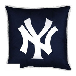 Sports Coverage - MLB New York Yankees Sidelines Toss Pillow - Make that new officially licensed MLB New York Yankees Sidelines Toss Pillow look as good as it feels. A must have for any true fan. A New Design - Same great quality!! Coordinating Toss pillow to match jersey material logo Comforter. Each Pillow is made from 100% polyester jersey material (just like the athlete's wear). Pillow has large team logo in the center of the pillow, as well as a strip of mesh trim around it.   Features:  - Toss Pillow is 17 x 17,   - Poly/Cotton bottom side,   - 100% Polyester Cover and Fill,   - Sidelines is trimmed in teams secondary color,   - 100% Polyester Jersey,   -  Spot Clean only ,